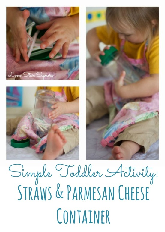 Simple Toddler Activity: Straws & a Parmesan Cheese Container | Read the post at lonestarsigners.com for lots of fun learning ideas!