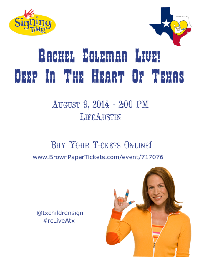 Rachel Coleman, host of Signing Time!, live in concert AUGUST 9th! Come sign with us! #rcLIVEatx