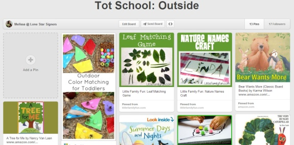 Outside Tot School Pinterest Board (Lone Star Signers)