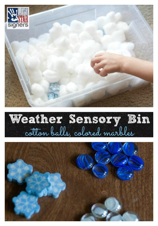 Weather Sensory Bin from Lone Star Signers