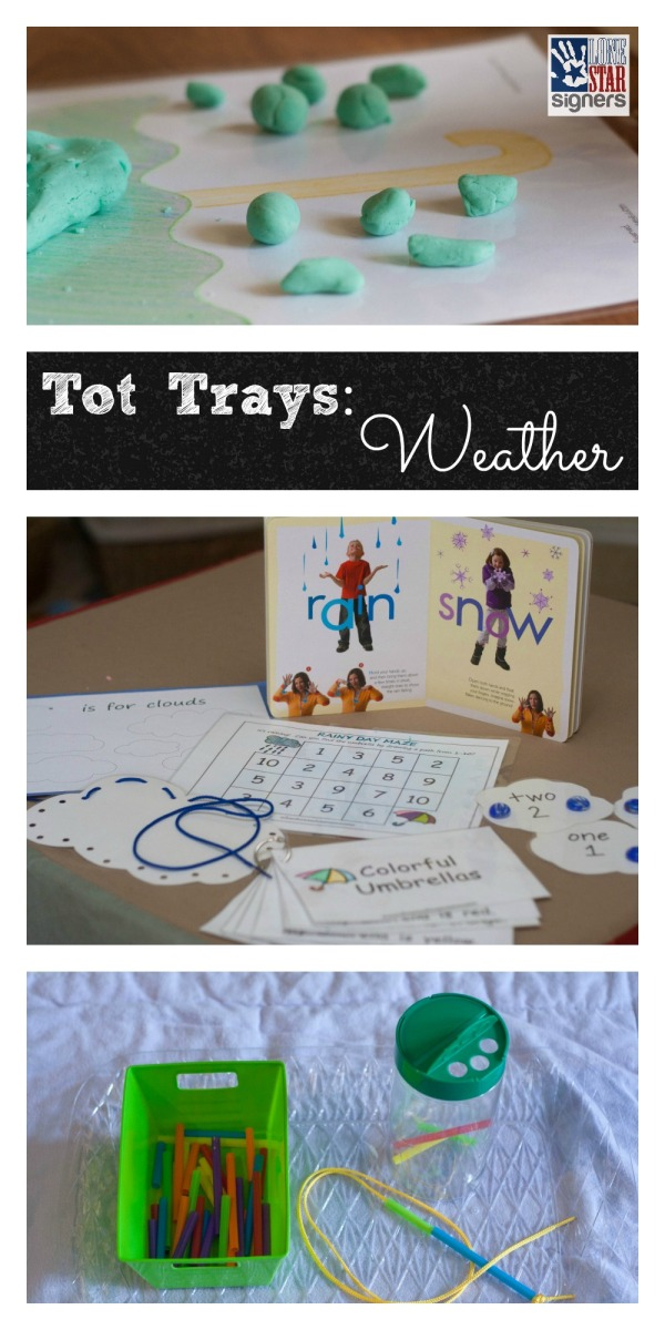 Weather-themed Tot Trays from Lone Star Signers