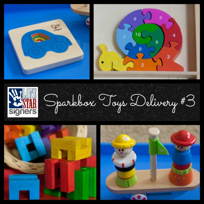 """Lone Star Signers: Our 3rd awesome delivery from Sparkbox Toys, the """"netflix for toys"""""""