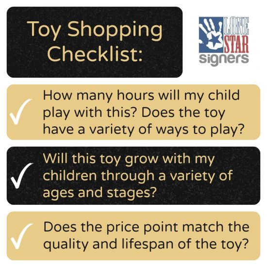 Our toy-shopping checklist! Investing in quality materials matters to us.