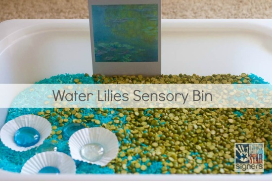 Art Appreciation Sensory Bin: Water Lilies