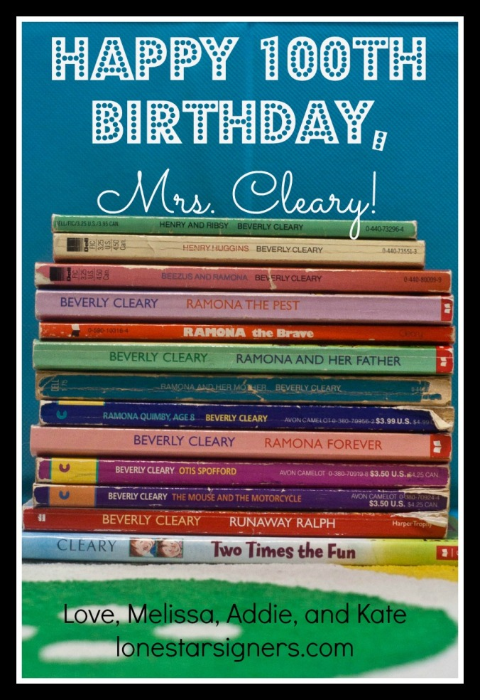 Beverly Cleary Turns 100 | Celebrate with lonestarsigners.com!